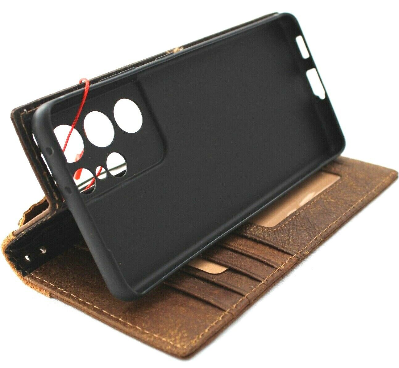 Image 41 - Genuine Leather Case for Samsung Galaxy S21 Ultra Wallet Book Luxury cover Suede