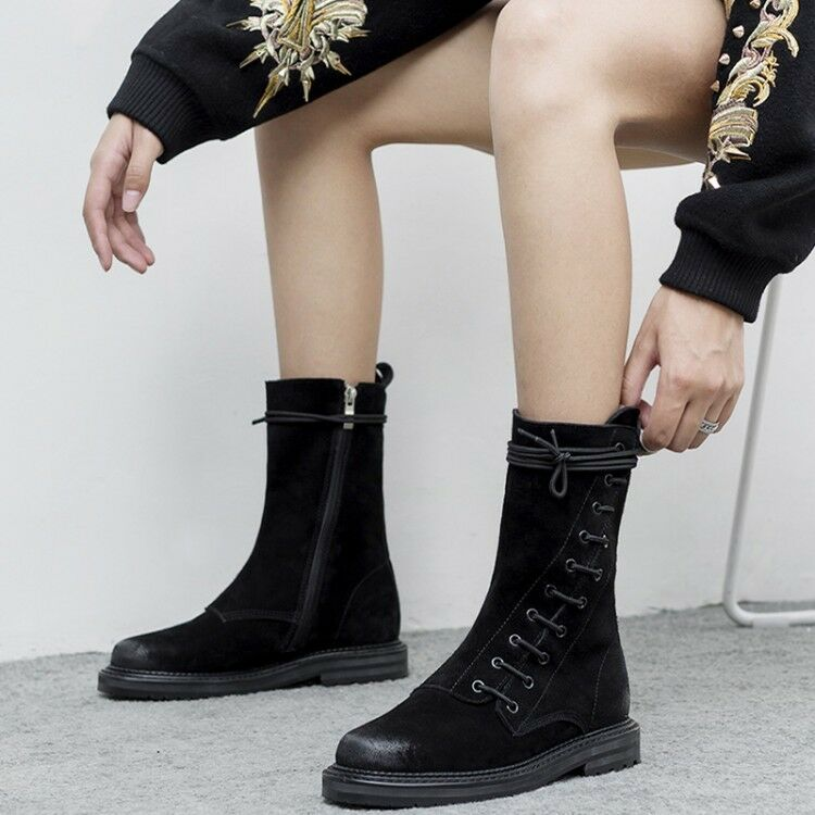 Women Lace Lace Lace Up Low Heels Round Toe Roman Mid Calf Boots Flat Casual Oxfords Boots 79760e