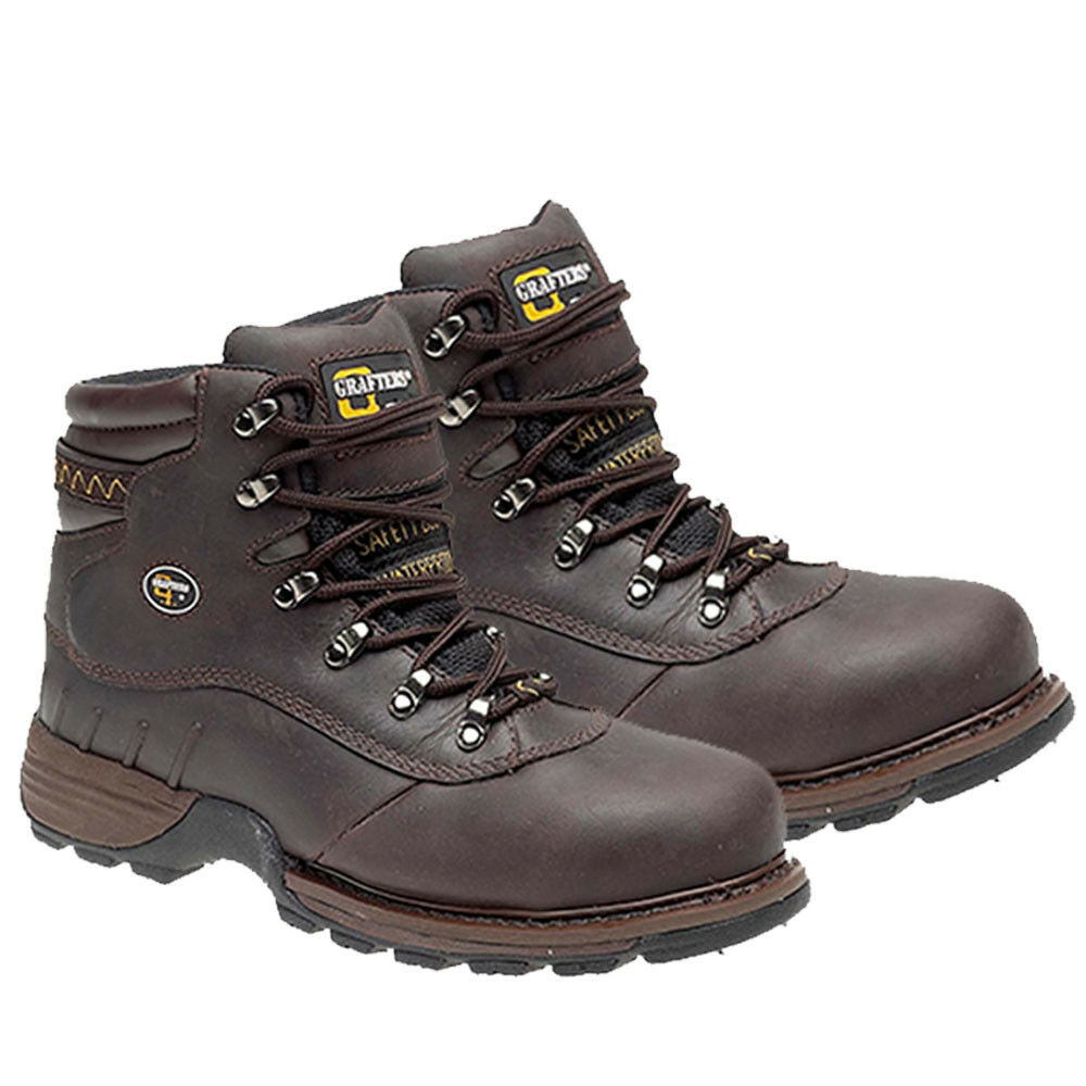 Mens Safety Boots Grafters Waterproof Breathable Steel Toe Cap Work Black Brown