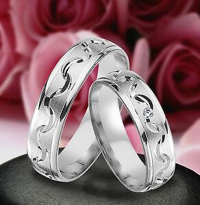 2 Ringe Trauringe Eheringe mit Stein, 5mm , Silber 925 , Gravur Gratis  ,  JL3-1