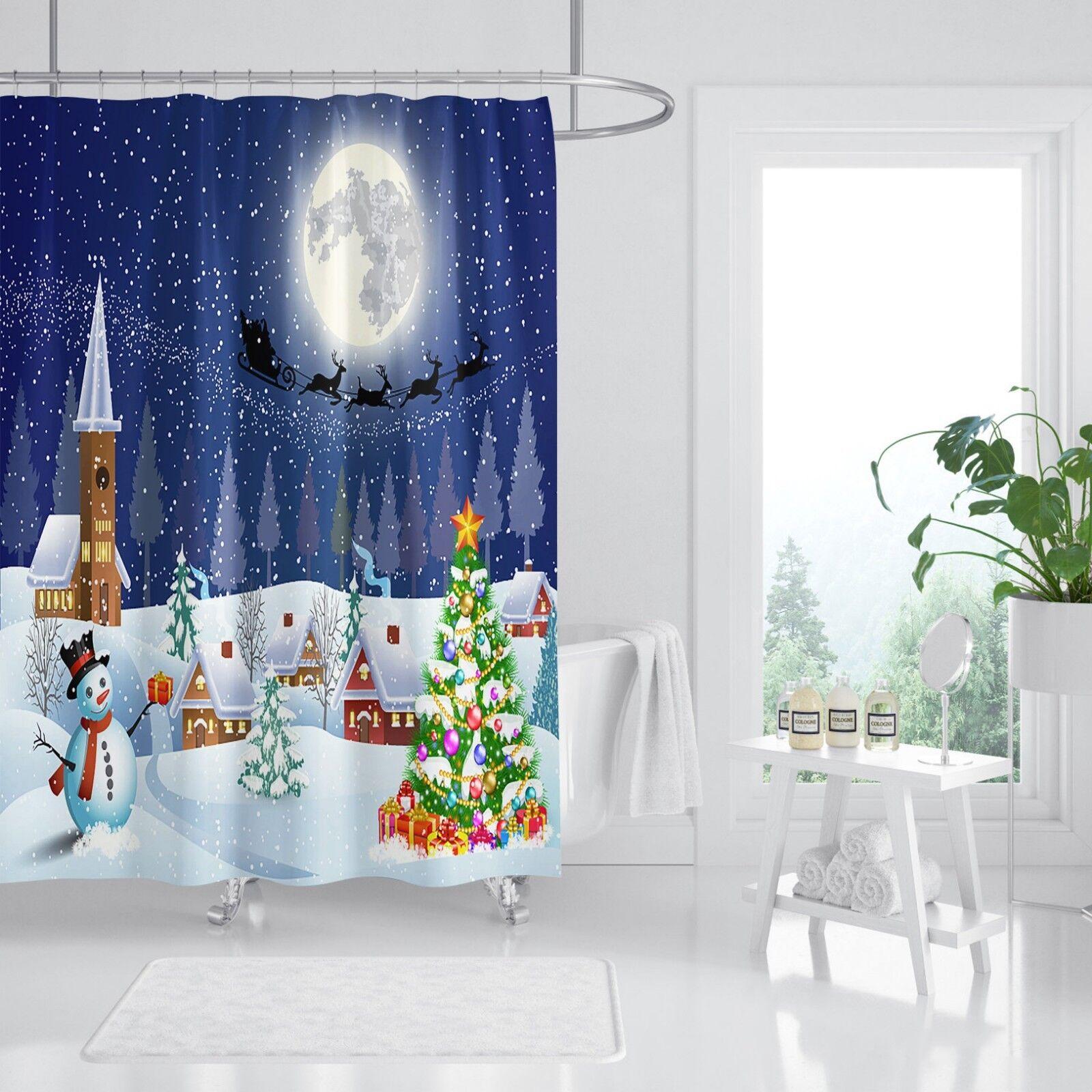 3D Christmas Night 8 Shower Curtain Waterproof Fiber Bathroom Bathroom Bathroom Windows Toilet 072ecd