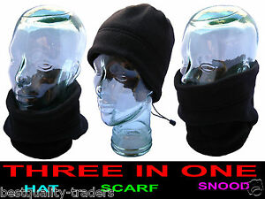 Unisex Polar Fleece 3in1 NECK WARMER HAT SNOOD SCARF football motorcycling