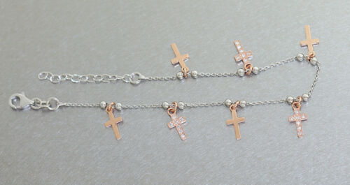 Pulsera plata 925 rotgold cruces pulsera plata charm cruz zirkonias