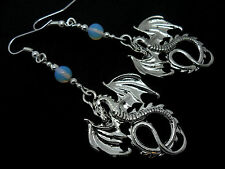 A PAIR OF TIBETAN SILVER DANGLY  DRAGON & OPALITE BEAD EARRINGS NEW