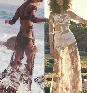US-Women-Lace-Crochet-Bikini-Cover-Up-Swimwear-Bathing-Suit-Summer-Beach-Dress