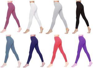Womens-Full-Length-Cotton-Leggings-All-Colours-amp-UK-Size-6-28
