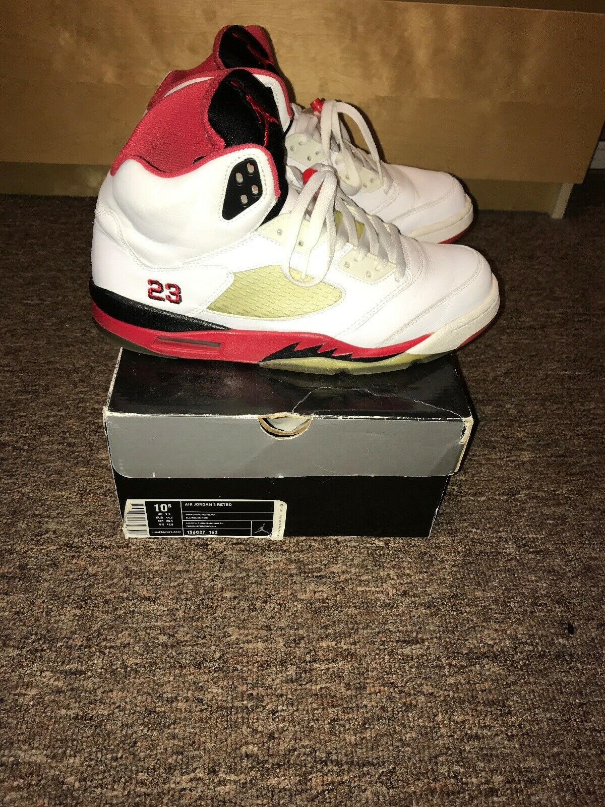 online retailer fed80 d6a36 Nike Air Jordan 5 V Retro Fire Red 2006 2006 2006 Size 10.5 7c2660