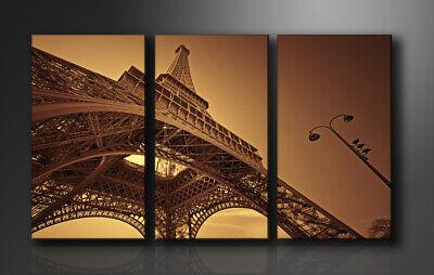 Intelligente Quadro Su Tela Quadri Moderni Torre Eiffel 160 X 90 Cm 3 Tele Modello : Xxl 1048