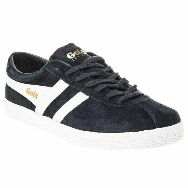 New Mens Gola Navy Trainer Leather Trainers Retro Lace Up