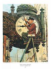 "Norman Rockwell vintage Clock Watch Repair man print: THE CLOCK MENDER 11""x15"""