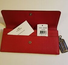 New authentic COACH  Womens  slim Red leather Pebbled  Checkbook Wallet