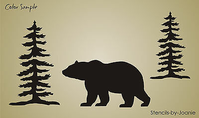 Rustic Wilderness STENCIL Mountain Lodge Trees Bear Cabin Country Primitive Sign