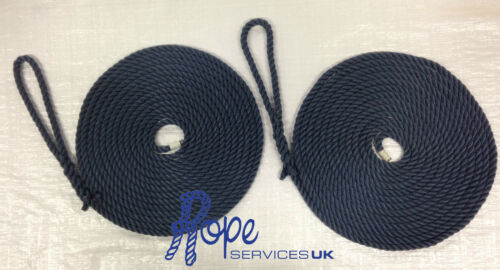 2 x 4 mts of 14mm Navy blue softline mooring ropes mooring boats,yachts