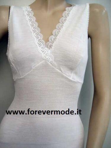 Canotta donna Gicipi spalla larga in misto lana con forma seno e pizzo art 423SL