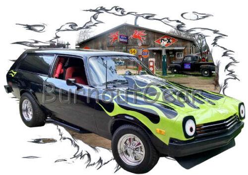 1977 Black Flames Chevy Vega Wagon Hot Rod Garage T-Shirt 77 Muscle Car Tee/'s
