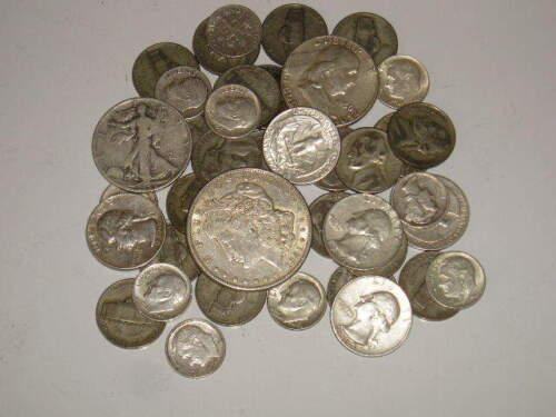 8oz Old Silver Coins Pre-1964 w//1 MORGAN DOLLAR HALFS QUARTERS DIMES /&MORE READ