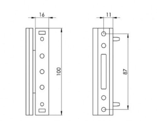 Paddock Neón 2D Ajustable UPVC Puerta de Bisagra a tope 100mm Blanco o Marrón