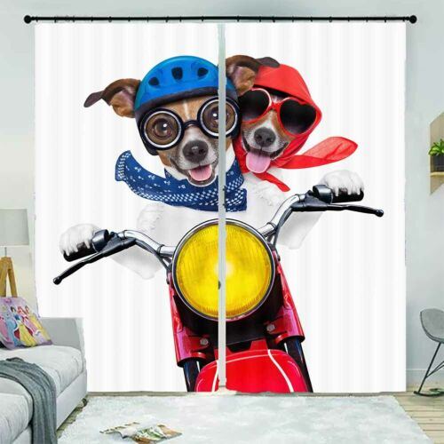 Dog Red Blue Helmet 3D Curtain Blockout Photo Printing Curtains Drape Fabric