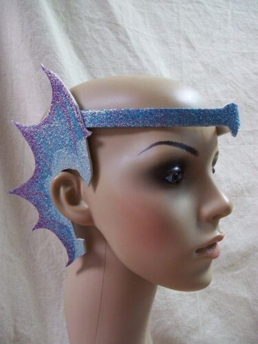 Blue Glittery Mermaid Webbed Fin Ears Earpiece Aquatic Creature Sea Horse Dragon