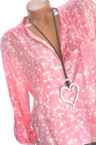 Damen Bluse Langarm Tunika Print HERZEN 40 42 44 NEU Italy Mode