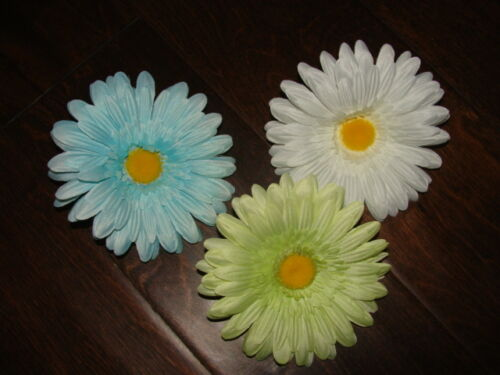 "Retro Hair Alligator Clip Daisy Pinup Girl 4-5/"" Lime Aqua White Flower Barrette"