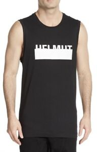 c7c89f300a635a NWT HELMUT LANG Men s OPTIC WHITE BLACK LOGO MUSCLE TEE SLEEVELESS T ...