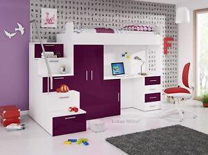 Etagenbett Schrank : Hochbett etagenbett alice hochglanz weiss violett bett schrank