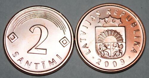 Latvia 2009 2 Santimi Coin BU Very Nice KM# 21