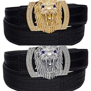 QHA Mens Leather Belt For Men Alligator Style Lion Diamond Buckle Gift Q74