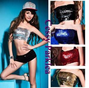 Sequins-Jazz-Dancewear-Club-Tube-Top-Bust-Tube-Black-Pink-Blue-Green-8-Colours