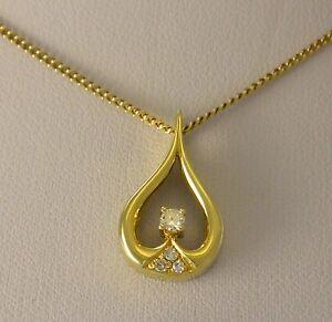 Kette-amp-Diamant-0-15-ct-Anhaenger-585er-14-Karat-Gelbgold