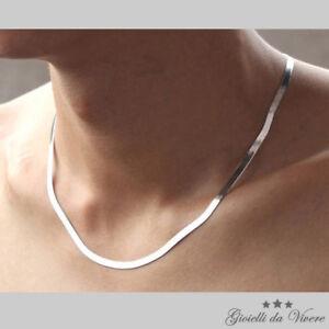 girocollo brillante Collana Bellissima Argento bianchi uomo unisex donna fh