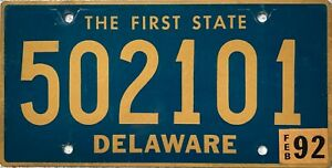 GENUINE-American-Delaware-First-State-License-Licence-Number-Plate-Tag-502101
