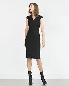 nero Blogger Pencil con V Basic abito Zara L a 40 Sexy Dress scollo SH8X75qxw