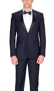 Braveman-Mens-Slim-Fit-Solid-Navy-Blue-Flat-Front-Tuxedo-Dress-Pants-40W