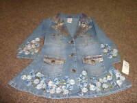 Boutique Lipstik 2t Denim Jean Jacket Coat Gold Blue Flowers