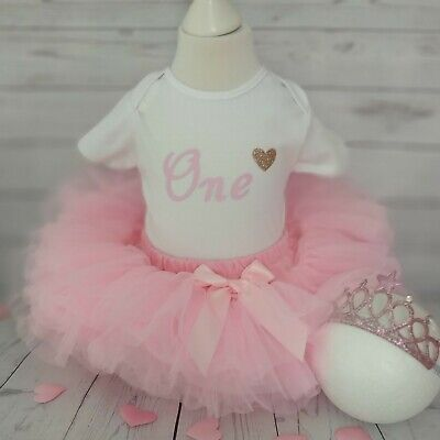 Baby Girls Cake Smash First 1st Birthday Outfit Tutu Knickers Pink Hat Top Set
