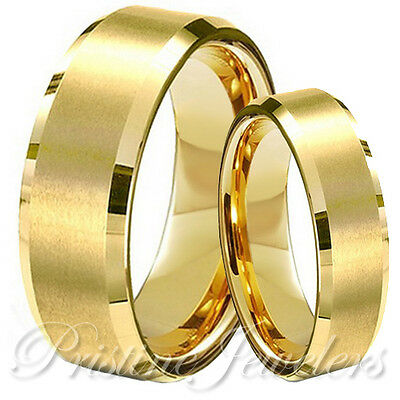 His and Her Gold Tungsten Brushed Mens Wedding Band Promise Engagement Ring Set