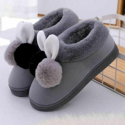 Women Plush Bunny Rabbit Warm Indoor Slippers Slip On Home Shoes Winter