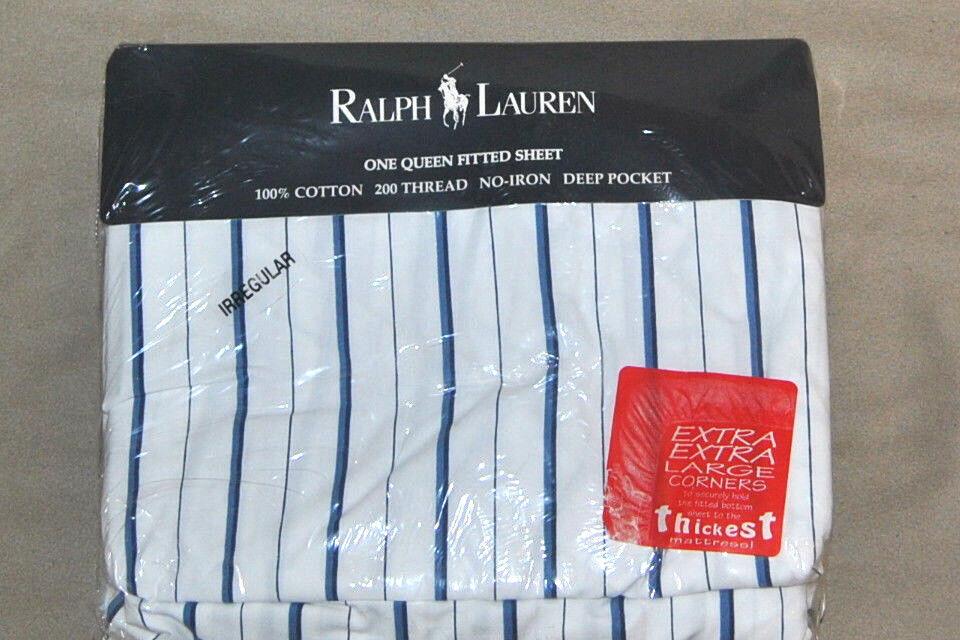 RARE Vintage Ralph Lauren  Jonquil bluee Queen Fitted Sheet IRREGULAR UNUSED