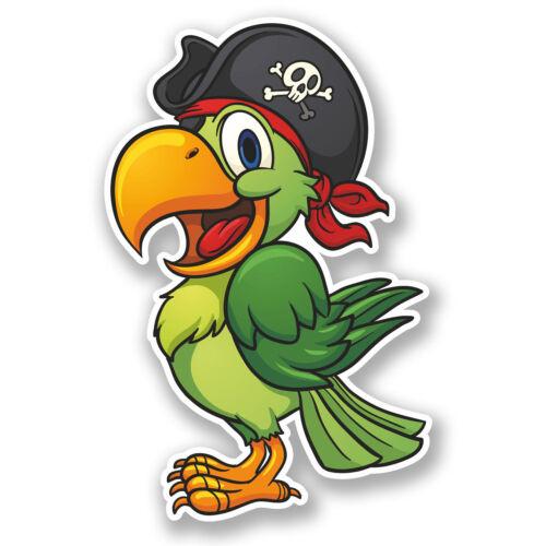 2 X 10 Cm Pirate Parrot Vinilo Decal Sticker Ipad Laptop Coche Bicicleta Pájaro Niños # 5585