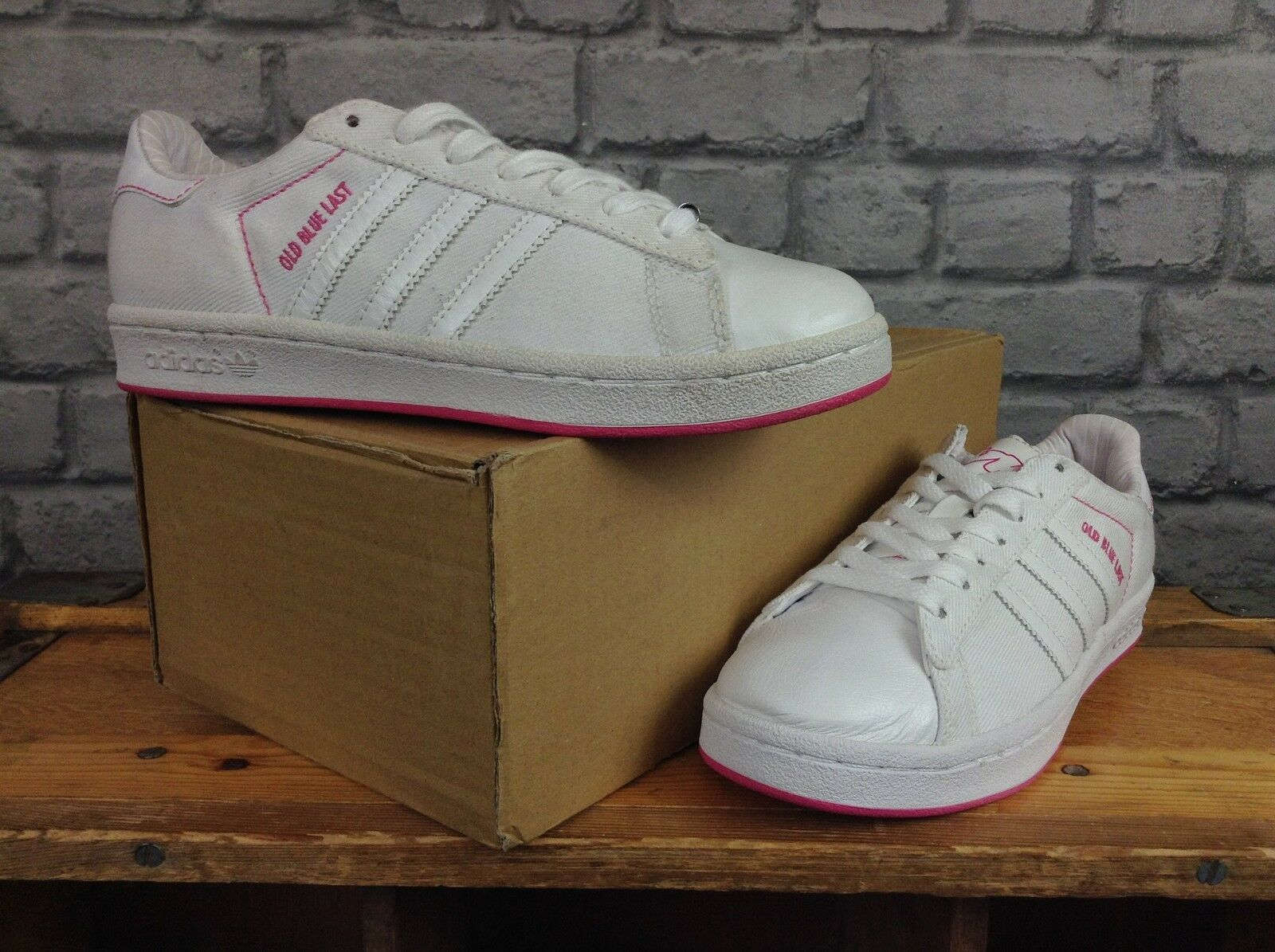 ADIDAS LADIES LADIES LADIES UK 5 EU 38 VICE OLD Blau LAST Weiß Rosa LEATHER CANVAS TRAINERS  | Feinbearbeitung