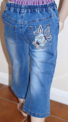 Crop Stretch Jeans 5//6 years Beads Glitzy Bling Blue Stonewash NEW Capri Length