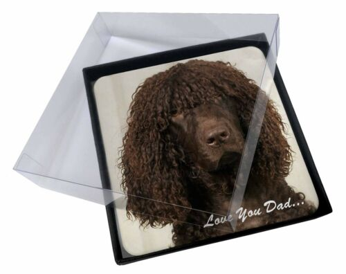 4x Irish Water Spaniel 'Love You Dad' Picture Table Coasters Set in Gif, DAD59C
