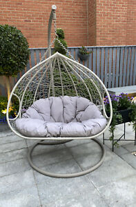 Double Egg Chair Swing Bench Wicker Rattan Hanging Garden ...