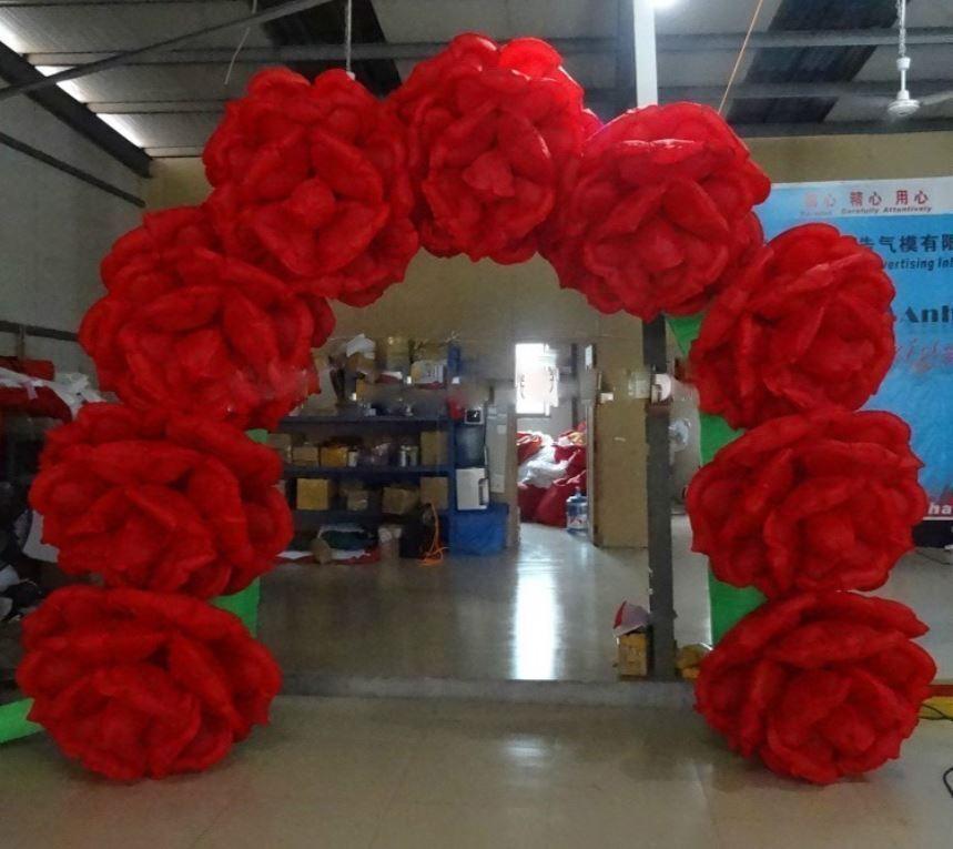 10x10ft. Commerciale Gonflable Rose Fleur Mariage événement Passerelle Arche avec ventilateur