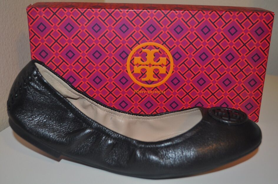 NIB  250+ Tory Burch ALLIE Ballet Flat shoes Black Sz 9 Heidi REVA Logo