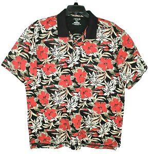 IZOD-Golf-Mens-XXL-Hawaiian-Floral-Short-Sleeve-Polo-Shirt-Red-Black-100-Cotton