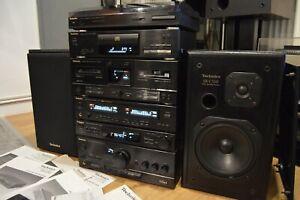 Technics-Hi-Fi-Stereo-AMP-CD-EQ-tuner-cassette-platine-haut-parleurs