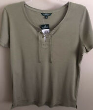 NWT~RALPH LAUREN~OLIVE/SAGE LACE-UP RIBBED SHORT SLEEVE TOP~PLUS SIZE 2X~NEW